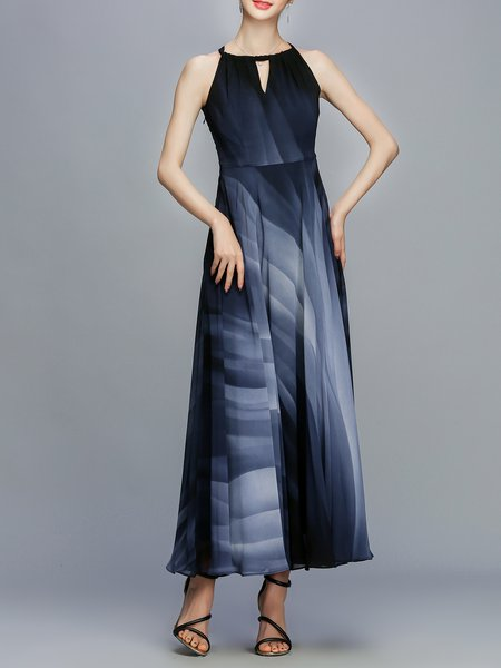 Dark Blue Sleeveless Gradient Maxi Dress