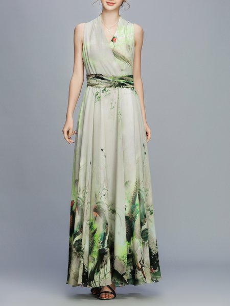 V Neck A-line Sleeveless Vintage Printed Maxi Dress