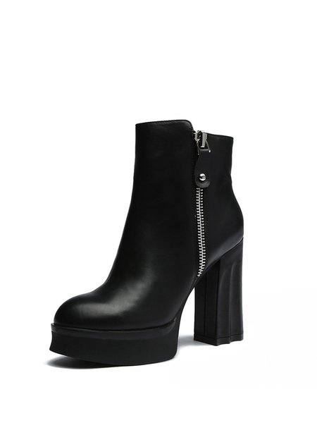 Black Zipper Winter Leather Casual Boots