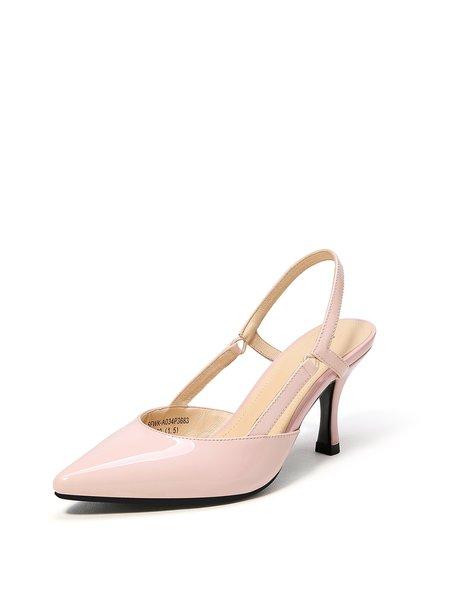 Pink Stiletto Heel Leather Dress Heels