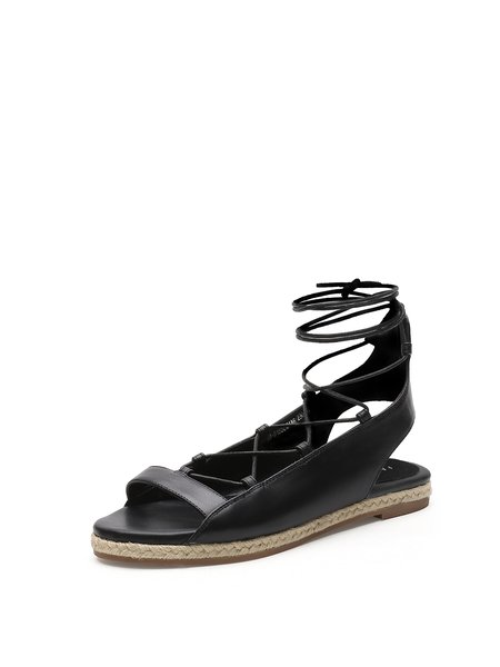 Black Leather Lace-up Summer Flat Heel Casual Sandals