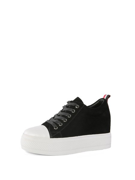 Black Casual Platform Suede Lace-up Sneakers