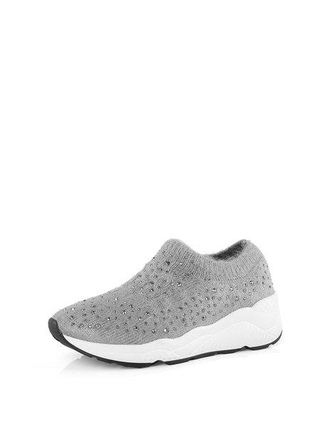 Gray Rhinestone Casual Comfort Sneakers