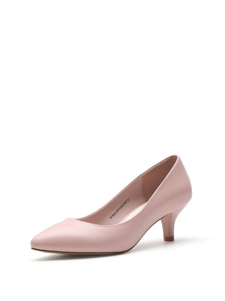 Pink Kitten Heel Pointed Toe Heels