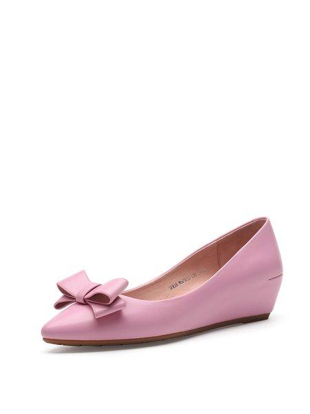 Pink Bowknot Office PU Wedge Heel Flats