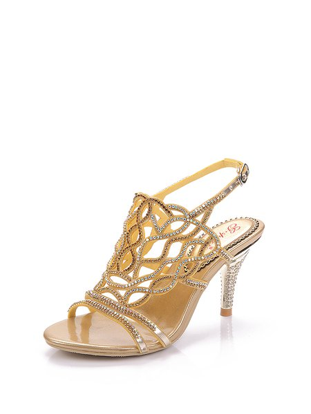 Golden Dress Stiletto Heel Middle East Rhinestone Summer PU  Sandals