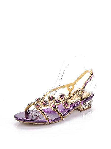 Purple Chunky Heel PU Rhinestone Sandals