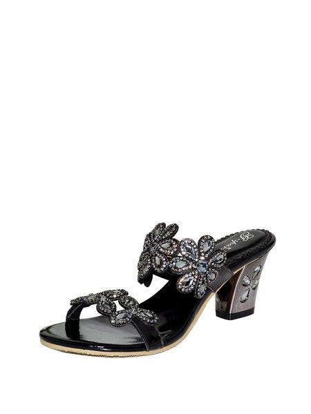 Black PU Rhinestone Dress Chunky Heel  Slippers