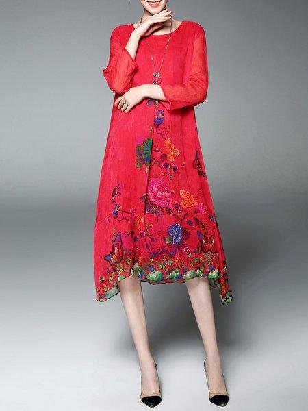 Red Vintage Floral-print A-line  Chiffon Dress