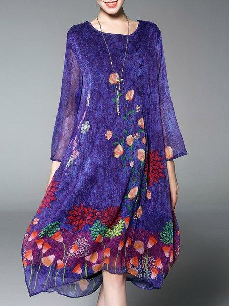 Plus Size Floral-print Crew Neck Vintage Buttoned Chiffon Dress