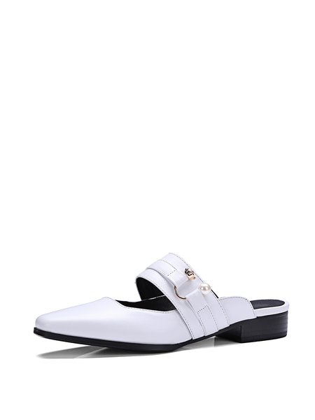 White Leather Casual Slippers