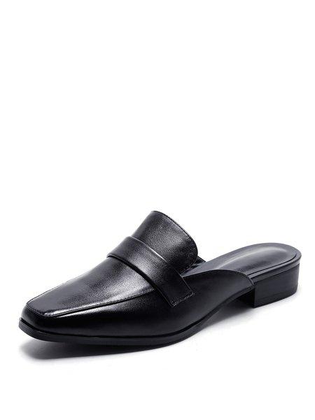 Leather Slide Chunky Heel Slippers