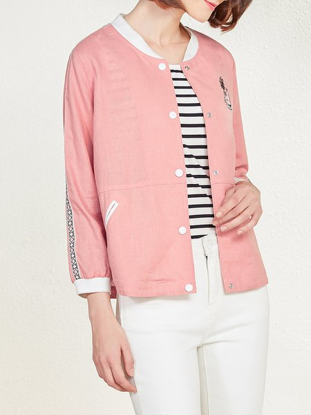 Pink Geometric Linen Casual Cropped Jacket