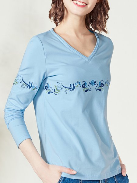 H-line Long Sleeve Floral Embroidered  T-Shirt