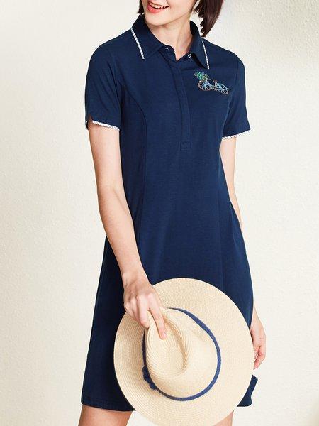 Dark Blue Embroidered Short Sleeve Mini Dress