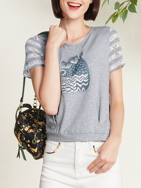 Short Sleeve Casual Printed Lace Paneled T-Shirt