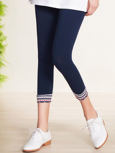 Dark Blue Cotton-blend Casual Leggings
