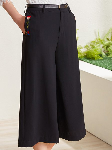 Black Pockets Solid Simple Wide Leg Pants