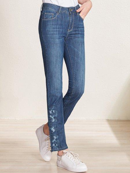Blue Pockets Cotton-blend Casual  Straight Leg Jeans