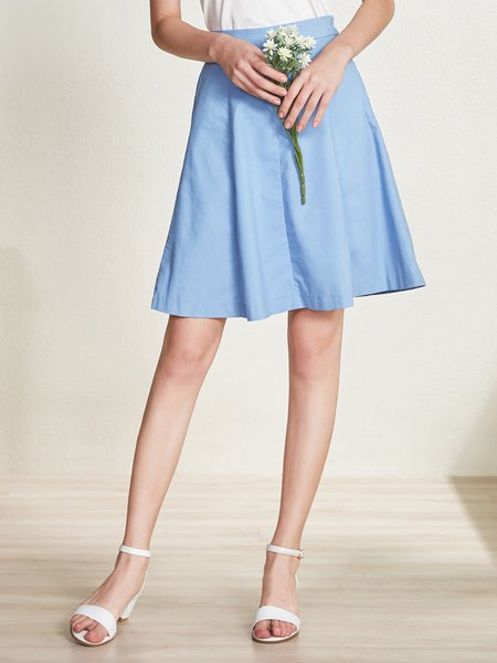 Blue A-line Solid Simple Midi Skirt
