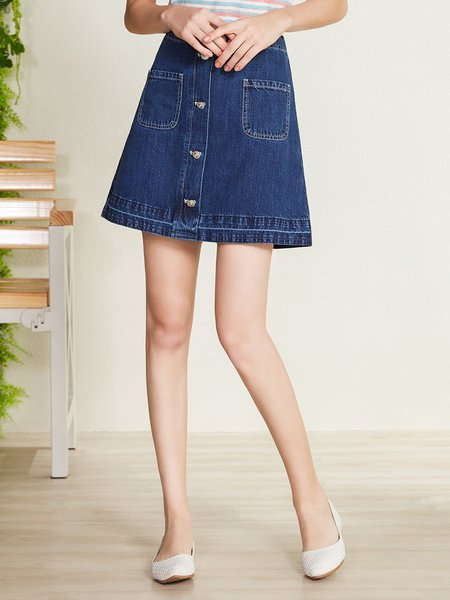 Plus Size Blue Casual Pockets Denim Mini Skirt