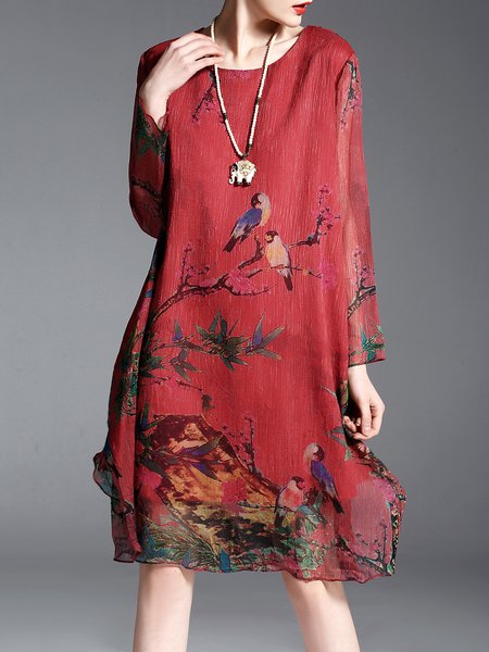 Asymmetrical Plus Size Animal Print Long Sleeve Vintage Midi Dress