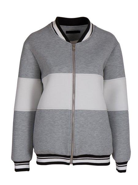 Gray Zipper Stand Collar H-line Long Sleeve Bomber Jacket