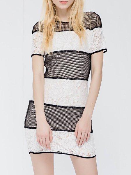 Black-white H-line Casual Mini Dress