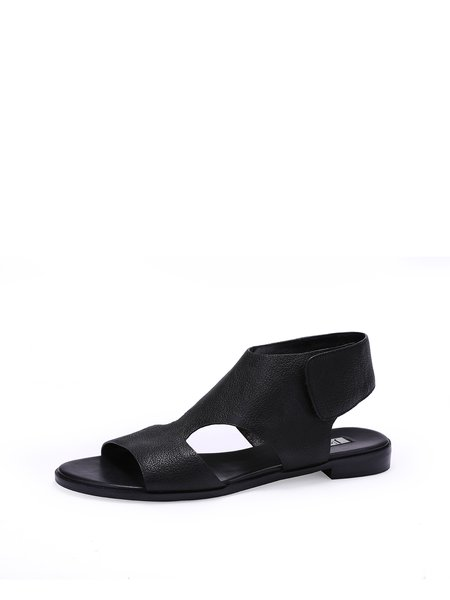 Black Flat Heel Casual Leather Sandals