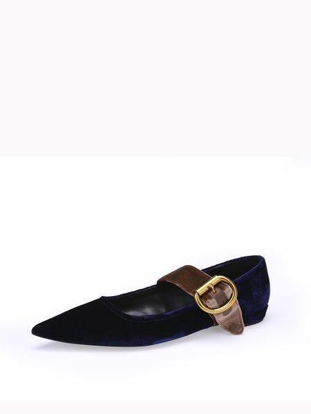Dark Blue Flat Heel Suede Pointed Toe Flats