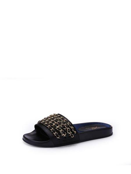 Black Flat Heel  Summer Chain Slippers