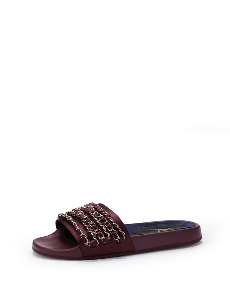 Red Flat Heel  Casual Summer Slippers