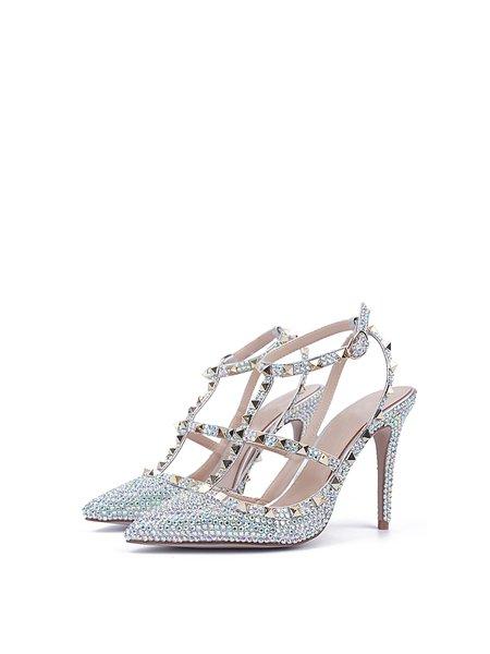 Silver Stiletto Heel Patent Leather Rhinestone Sandals