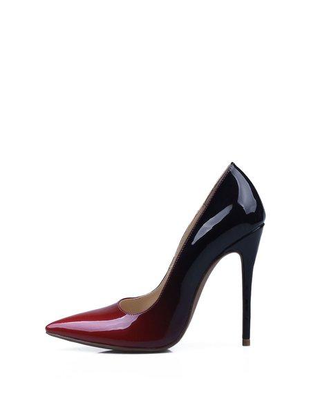 Burgundy Gradient Stiletto Heel Dress Patent Leather Heels