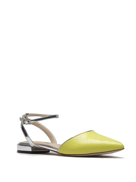 Yellow Leather Pointed Toe Dress Sandals