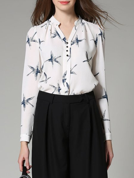 Stand Collar Printed Long Sleeve Blouse