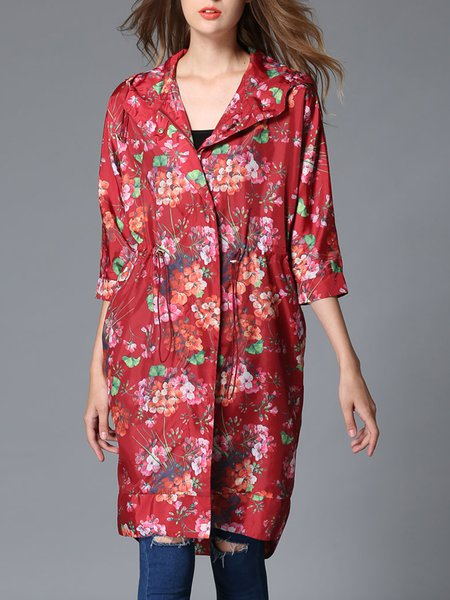 Red Casual Shift 3/4 Sleeve Hoodie Floral Coat