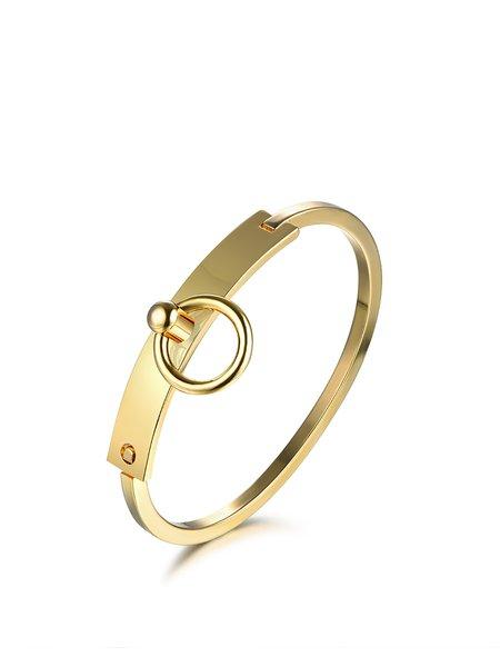 Golden Round Copper Lock U Bracelet