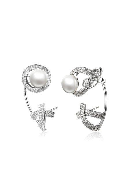 Silver Zircon Heart Spiritual Purity Drop Earrings