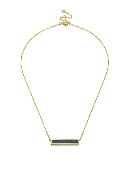 Gold Plated Cut Zircon Black Band Necklace