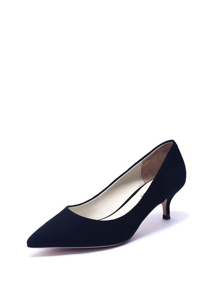 Black Kitten Heel Suede Office & Career Spring/Fall Heels