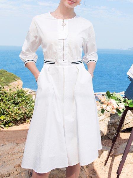 White Plain A-line 3/4 Sleeve Midi Dress