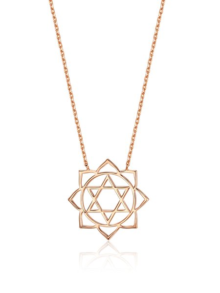 Rose Gold Flower Silver Necklace
