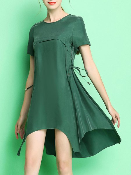 Asymmetric High Low Casual Short Sleeve Mini Dress