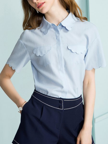 Light Blue H-line Shirt Collar Paneled Short Sleeve Blouse