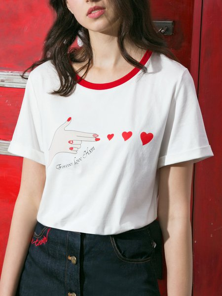 White Casual H-line T-Shirt