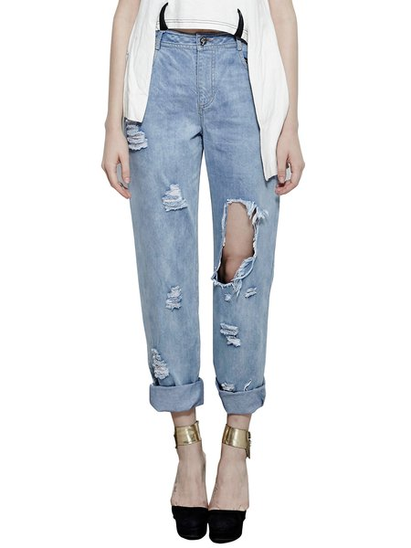 Blue Casual Distressed Cutout Cotton Jeans