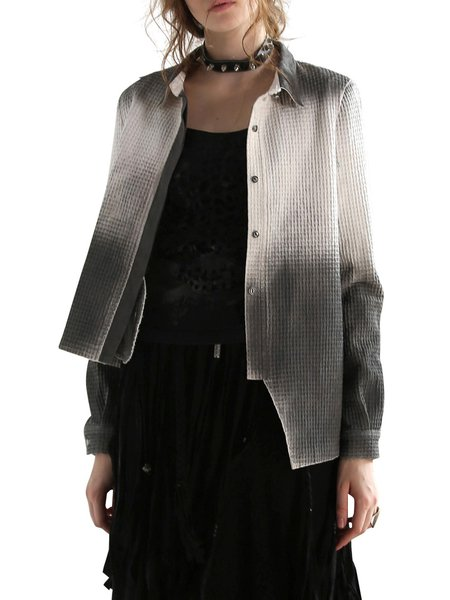 Gray Asymmetric Shirt Collar Cotton Distressed Casual Coat