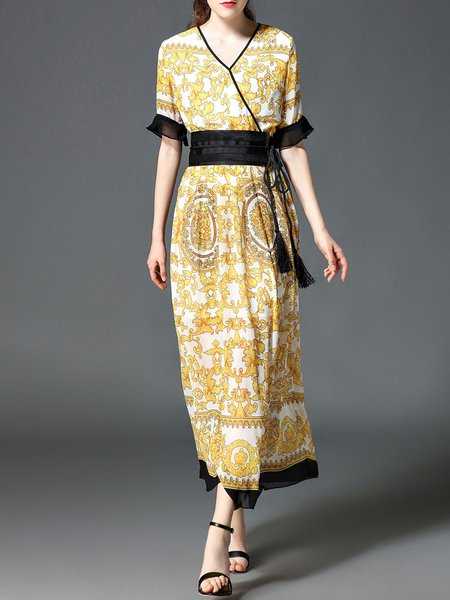 Yellow Surplice Neck A-line Elegant Printed Maxi Dress