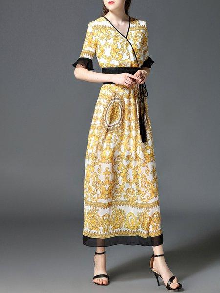 Yellow Maxi Dress A-line Daily Elegant Printed Dress